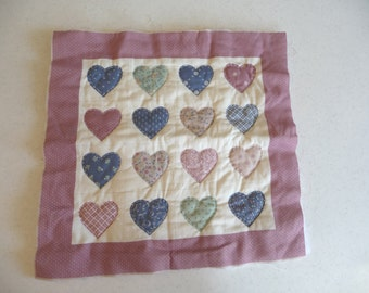Vintage Quilted Heart,  Vintage Fabric Piece, Sewing Supplies, Padded Hearts, Applique Square, Colored Hearts, Country Style Cottage, Crafts