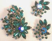 Blue Green Rhinestone Large Pin and Earrings Set