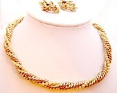 Faux Pearl Gold tone Rope Twisted Necklace and Earring by BARCLAY- Vintage