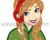 Cold Princess Christmas Applique Machine Embroidery Design (DIGITAL ITEM)