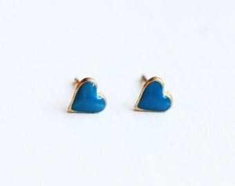 Teeny Tiny Blue Heart Studs