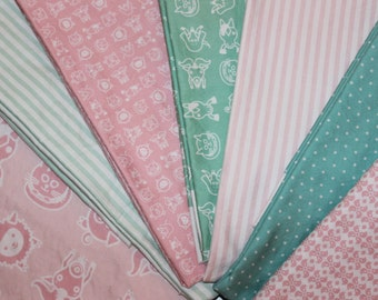 Organic, Baby, Blanket, Kit,DIY, Mod, Farm, Rag, Quilt, Kit, Baby, Girl, Pink, Mint, Green, Sateen, Cotton, Flannel, Ready to Sew
