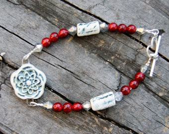 Winter's Flower Ceramic Focal, Red Stone and Crystal Bracelet
