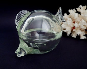 Vintage Glass Fish Box -  Glass Fish figurine - Anchor Hocking Lidded Trinket Box made in USA