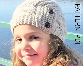 knitting pattern hat Knit hat pattern- 2- 6 Years Old  Girl Hat  Digital  PATTERN PDF - Cable Knit hat Pattern - Cloche Hat Knit Pattern