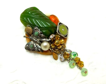 Large Mixed Media Brooch/Pin - Carved Bakelite Enamel Crystal Silver Turquoise
