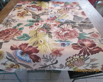 Fabric, vintage floral in rayon, large print in grays, browns, blues and greens  1940's
