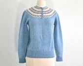 Vintage Fair Isle Wool Sweater Blue Heather Eddie Bauer