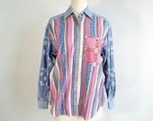 80s Vintage Shirt Blouse Pearl Snap Calico and Chambray Oversize Top