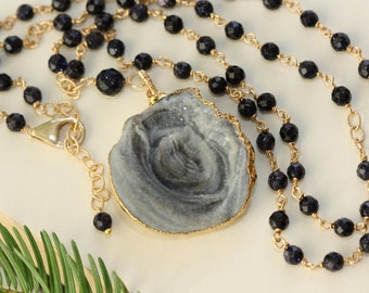 Agate Raw Stalactite Druzy, Unique Gifts, Dark Blue Goldstone, for Sister, Birthday Gift for Wife, for Mom, Long Necklace, for Girlfriend