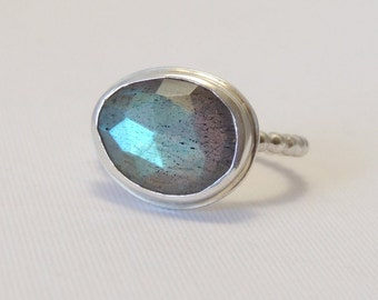 Labradorite Ring Sterling Silver Blue Green Freeform Faceted Gemstone Ring