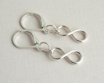 Infinity Symbol Earrings Sterling Silver Infinity Sign Dangle Earrings