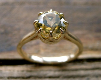 Lime Chrysoberyl Engagement Ring in 14K Yellow Gold with Scrolls on Basket Size 7