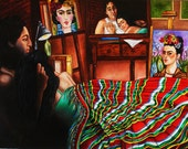 Mexican Fine Art Print Frida Kahlo Diego Rivera Artists Paintings from Original Oil Painting A Moment in Time
