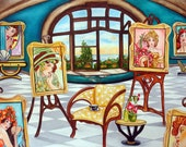 Original Oil Painting Interior Still Life Easel Paintings French Room France Alphonse Mucha Studio by k Madison Moore
