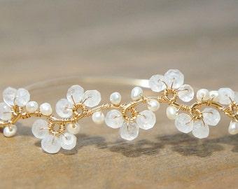 Rainbow Moonstone Bracelet, White Flower Jewelry, Wedding Bangle, Dainty