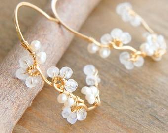 White Moonstone Earrings, June Birthstone Earrings, Bridal Jewelry, Japanese Delicate Earrings