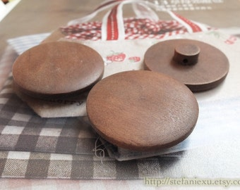 Wooden Buttons - Special Retro Looking Big Domed Bead Design Mushroom Shape Tote Bag Button (1 PCS, D=4cm)