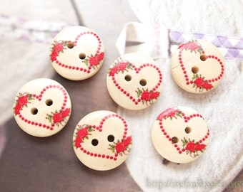6PCS Wooden Buttons - Lovely Shabby Chic Rose Floral Heart Dotted Wreath (6 in a set, D=1.8CM)