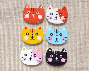 6PCS Wooden Buttons, Printed Color - Kawaii Japanese Lovely Orange Pink Yellow Black Cat Cats Faces (6PCS,Choose Color)