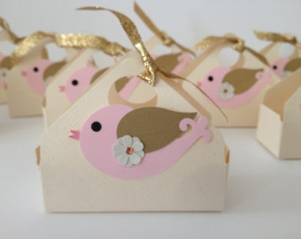 Bird Favor Boxes Pretty Pink - 14CT