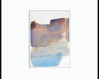 "SALE -Abstract Winter Watercolor Art, 5x7"", purple, blue, pink ""Painting 751"", modern watercolor, gallery wall art, home decor, original art"