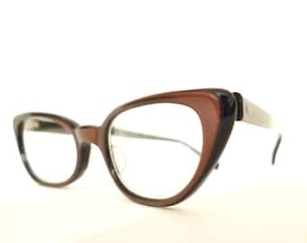 True Vintage 50s 60s Winged Cat Eye Glasses Luminous Brown Eyeglasses Sunglasses Batwing Hot Librarian Vixen Renegade Chic Eyewear on sale