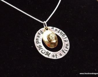 Firefighter mom necklace, Fire Mom jewelry, Mom of Firefighter necklace, Firefighter Mom gift, fire helmet