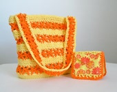 Clearance, Sunny flower tote and small wallet set, crochet and fabric