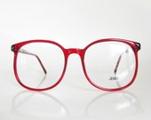Red Eyeglasses Vintage 1970s Oversized Sunglasses Round Ladies Womens Huge Glasses Optical Frames Indie Clear Cherry Bright Hipster Geek 70s