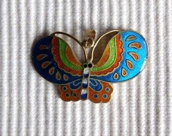 SALE Vintage Cloisonne Butterfly Pendant