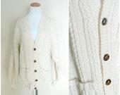 1970s Fisherman Cardigan Sweater / Cream Knit Irish Grandpa Cardigan / Size large to extra large