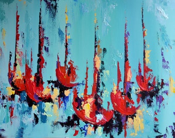 "Abstract Painting Original Acrylic Painting Red Boats Large Textured Art 24""x32"""