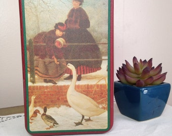Vintage Tin Container Victorian Women with Geese House Of Lloyd Rectangular