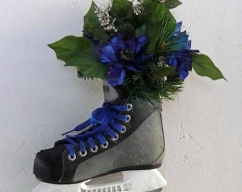 Blue Poinsettia Recycled Hockey Skate Wall Hanging or Centerpiece