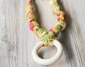 Olive green floral organic cotton nursing / babywearing necklace - wooden beads, ecological teething ring, organic cotton - Free Shipping
