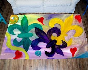 Mardi Gras Fleur de lis Area Rug from my art