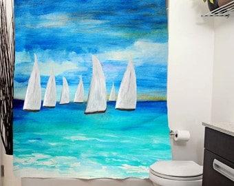 Sunset Sailing Nautical Art Shower Curtain