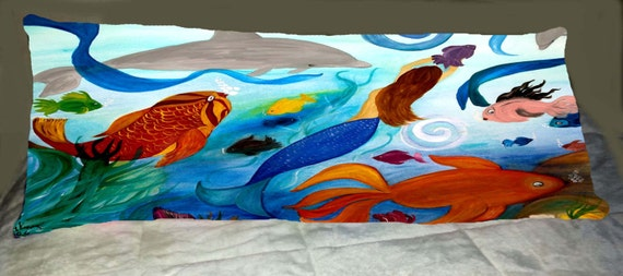 Tropical Fish And Mermaid Party Beach House Body Pillow Case