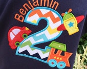 Boys Planes, Trains and  Automobile Birthday Shirt on Navy