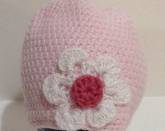 Soft Pink Flowered Beanie