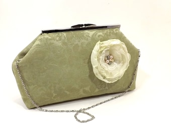 Shabby Chic Style Celery Green Evening Bag/ Convertible Clutch/ Fabric Flower Embellishment