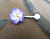 Belly Button Ring Jewelry, Purple Hawaiian Flower Plumeria Belly Button Ring Hawaii Navel Stud Jewelry Bar Barbell Piercing Tropical Hibiscu