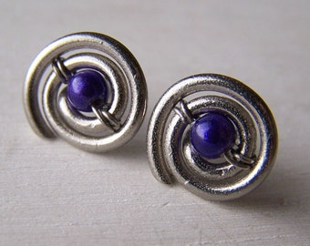 large post earrings for gauged ears and stretched lobes - 14 gauge pure titanium swirl with wire wrapped bead accent - choose your color