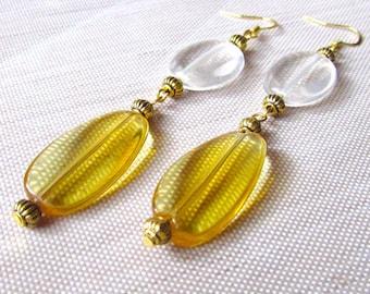 Golden Drop Earrings, Long Dangle Earrings, Amber Glass Earrings, Gold Tone Earrings, Retro Earrings, Long Earrings, Shoulder Dusters
