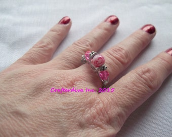 Pink Glass Bead Ring, Wirewrapped Ring, Ring, Handmade Ring