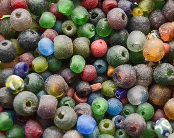 African Recycled Colored Glass Lucky Dip Bead Soup Mixed Lot Bag of Colored African Recycled Glass Beads