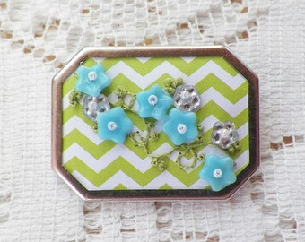 Handmade Green and White Chevron Paper with Embroidery w/ Mirror and Aqua Glass Bead Flowers Brooch, Pin, Broach, Original Design, Geometric