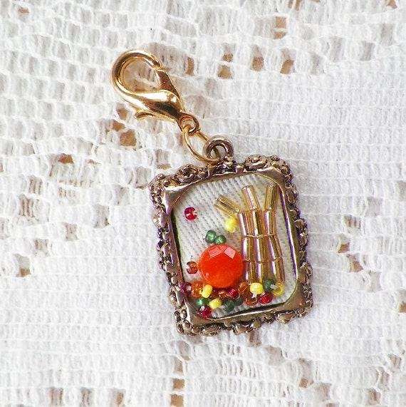 Pick of the Patch...Autumn / Fall Harvest Scene Handmade Beaded Charm / Clip / Zipper Clip with Glass Beads, Pumpkin, Corn Stalk, Leaves