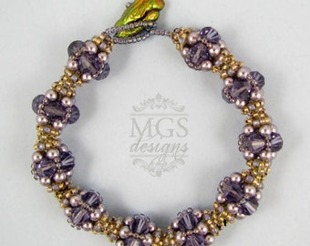 Lavender Lattice Bracelet - Beading Pattern/Tutorial Downloadable PDF